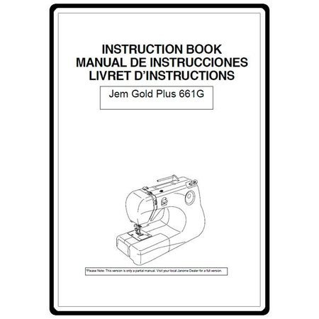 Instruction Manual, Janome Jem Gold 661 : Sewing Parts Online