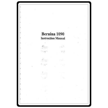 Instruction Manual, Bernina 1090 : Sewing Parts Online