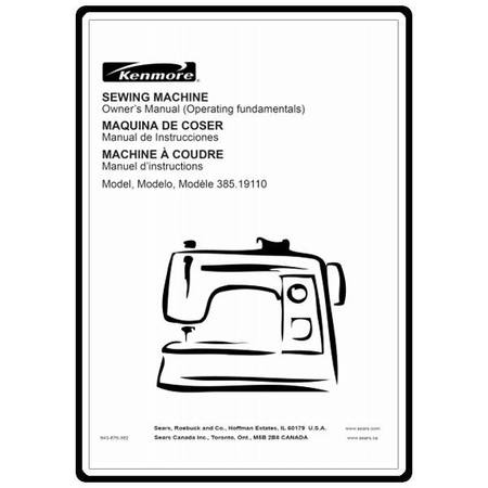 Instruction Manual, Kenmore 385.19110 Models : Sewing