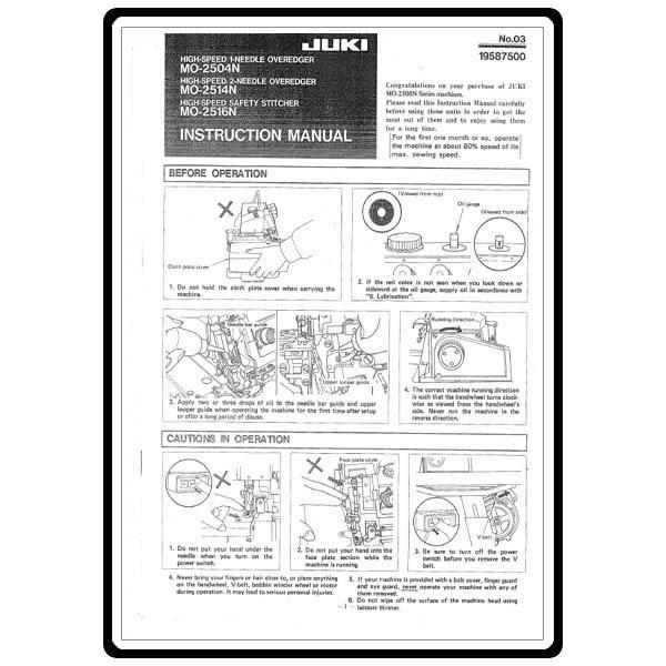 Instruction Manual, Juki MO-2516N : Sewing Parts Online