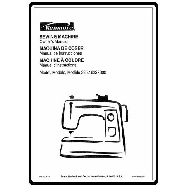 Instruction Manual, Kenmore 385.16227300 : Sewing Parts Online