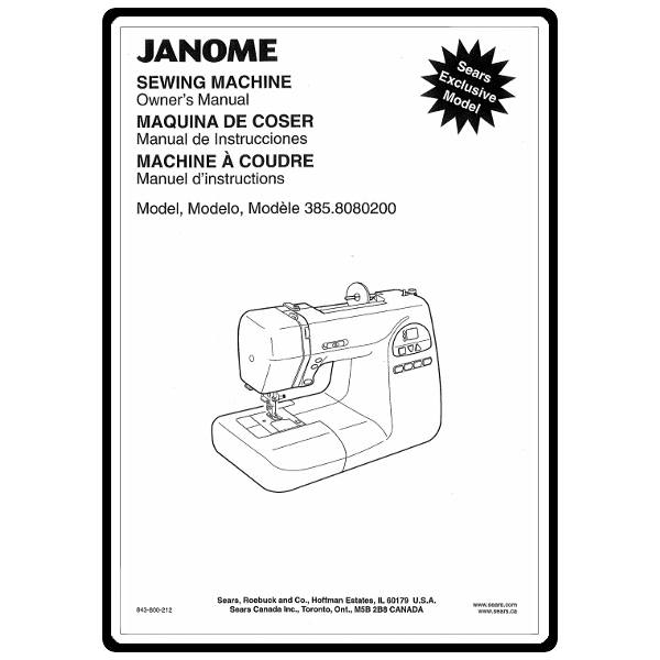 Instruction Manual, Kenmore 385.18080200 : Sewing Parts Online
