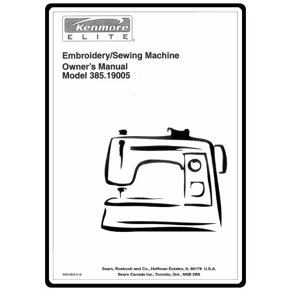 Instruction Manual, Kenmore 385.19005 Models : Sewing