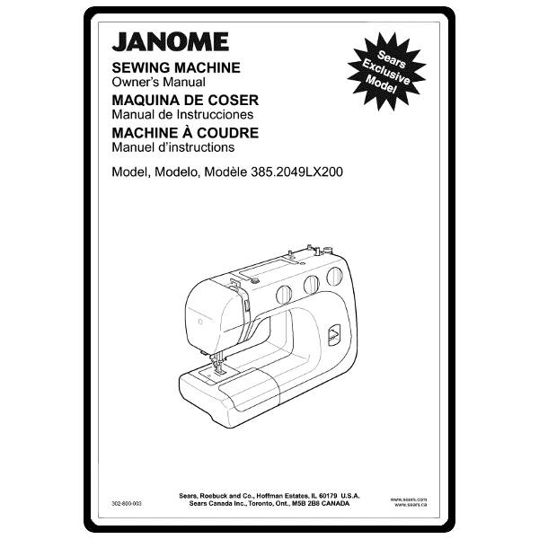 Instruction Manual, Janome 385.2049LX200 : Sewing Parts Online