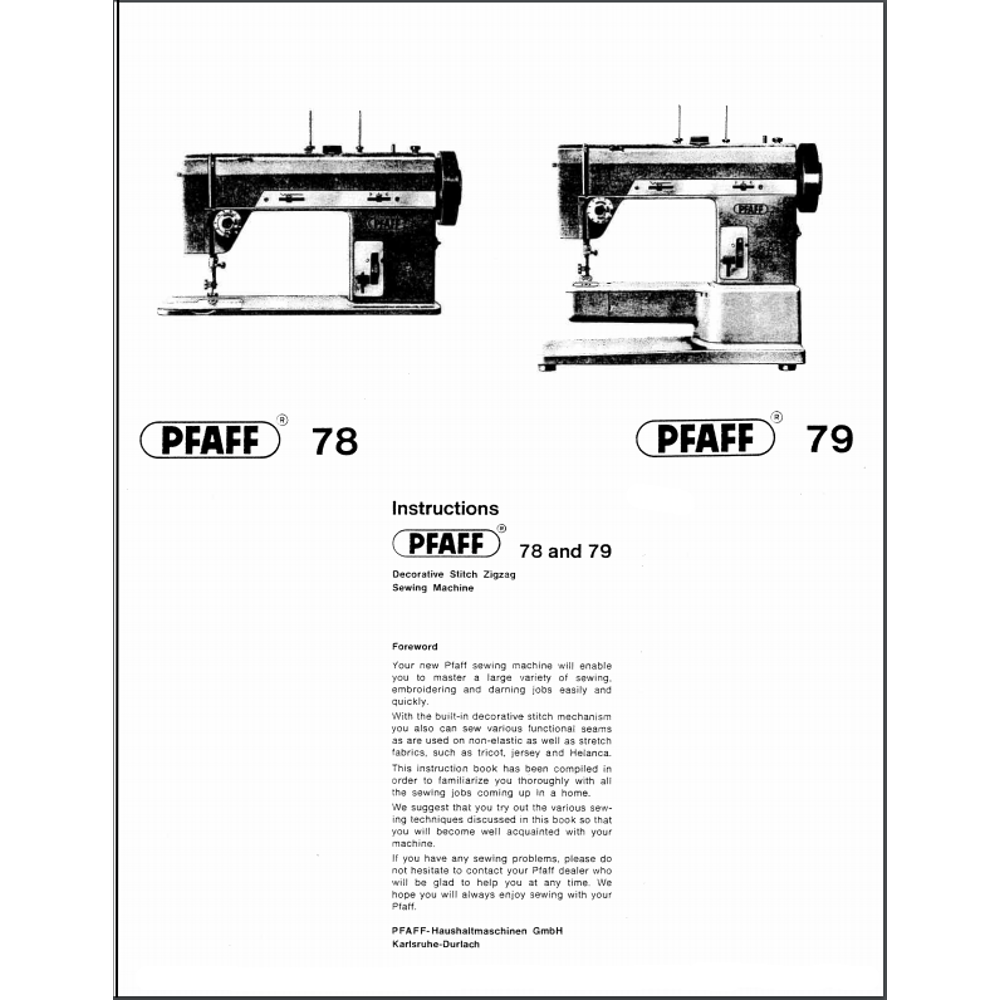 Instruction Manual, Pfaff 78 : Sewing Parts Online