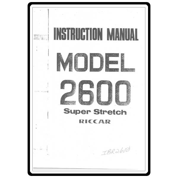 Instruction Manual, Riccar 2600 : Sewing Parts Online