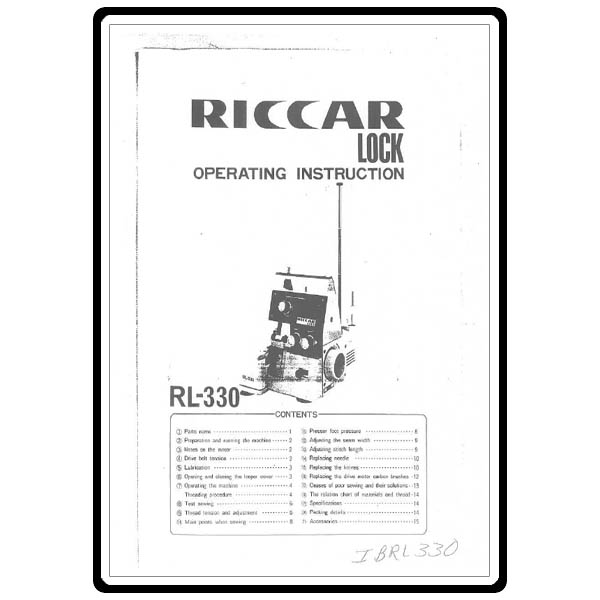 Instruction Manual, Riccar RL330 : Sewing Parts Online
