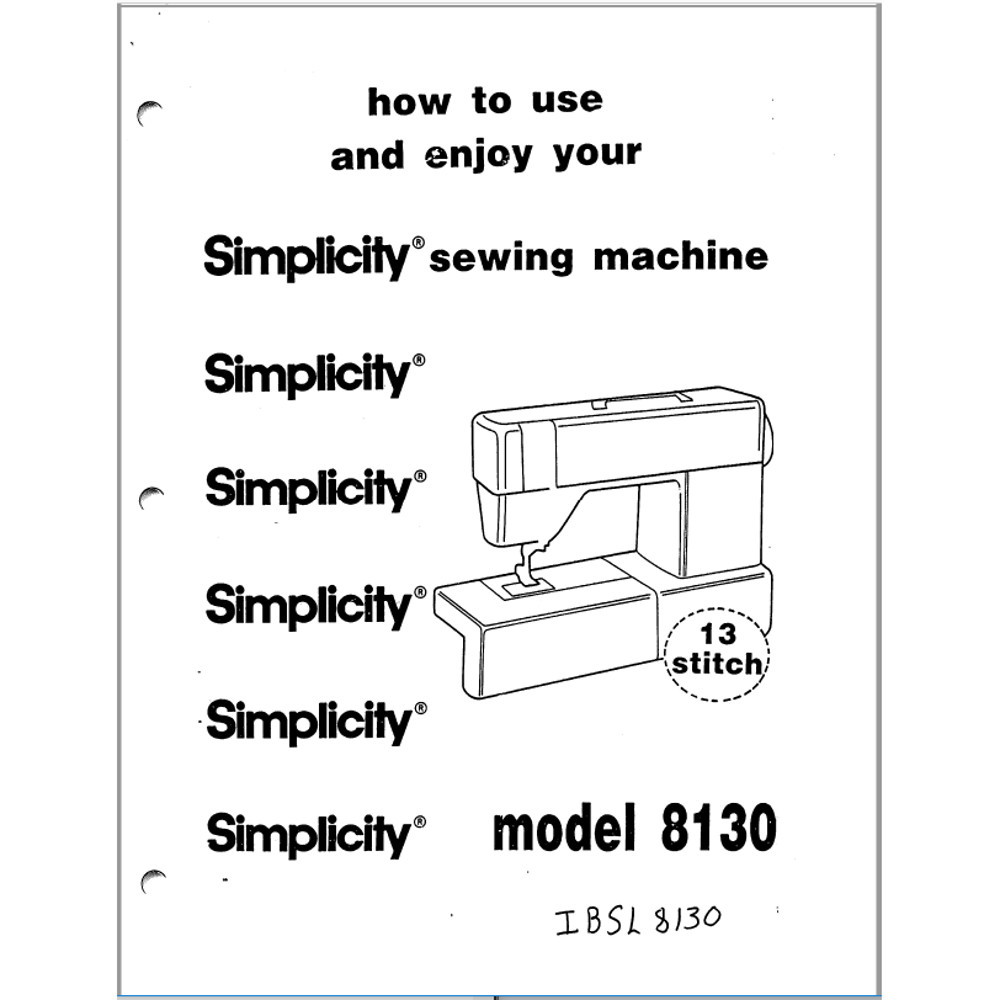 Instruction Manual, Simplicity SL8130 : Sewing Parts Online