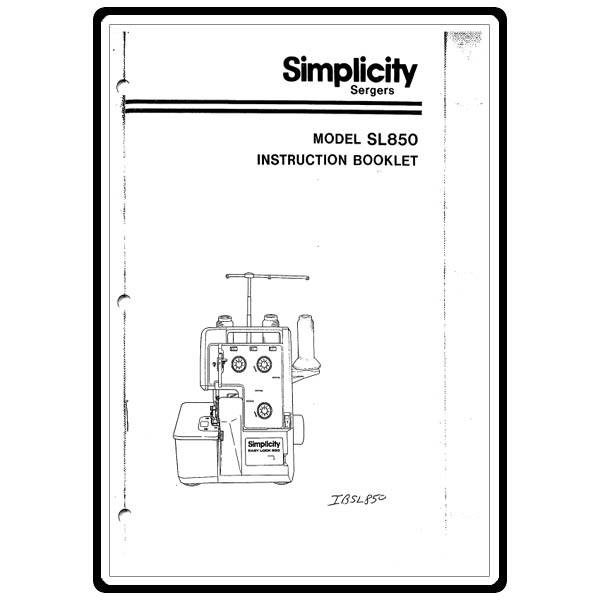 Instruction Manual, Simplicity SL850 : Sewing Parts Online