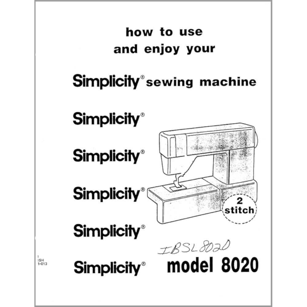 Instruction Manual, Simplicity SL8020 : Sewing Parts Online