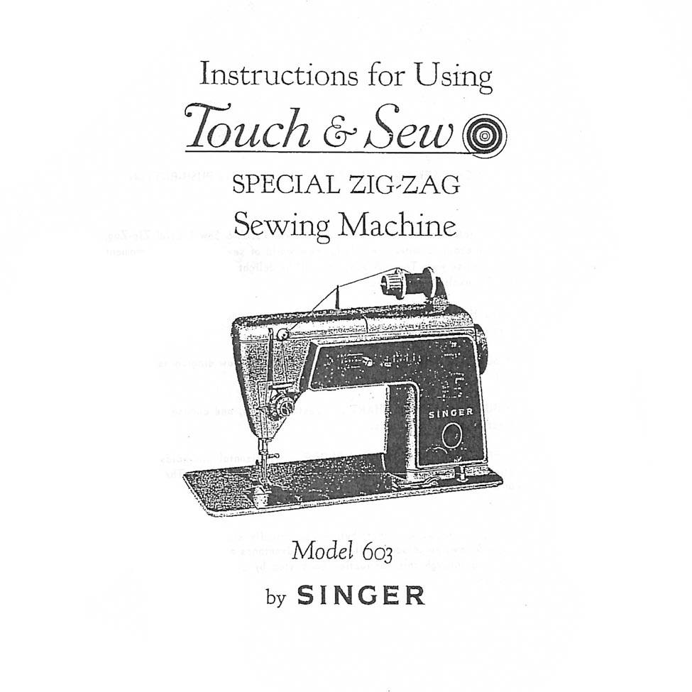 Instruction Manual, Singer 603 : Sewing Parts Online