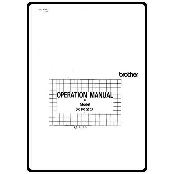 Instruction Manual, Brother XR-23 : Sewing Parts Online