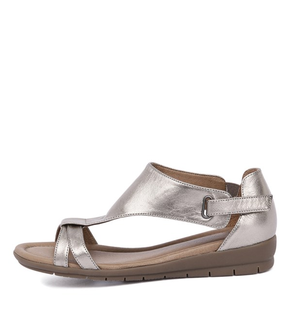 Supersoft Flitter Pewter Metallic Womens Shoes Casual Sandals Flat