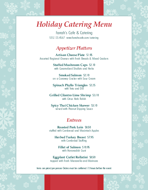 Holiday Party Catering Menu Christmas Menus