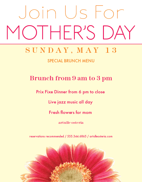 mothers day menu template