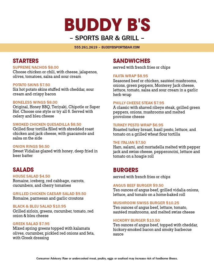 Sports Bar Menu Template Designs that are Easy to Edit - MustHaveMenus