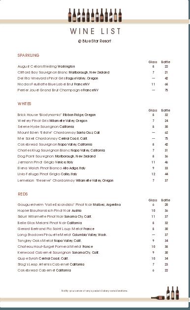 wine list templates