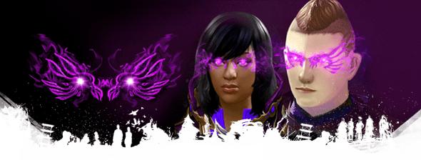 glowing purple mask