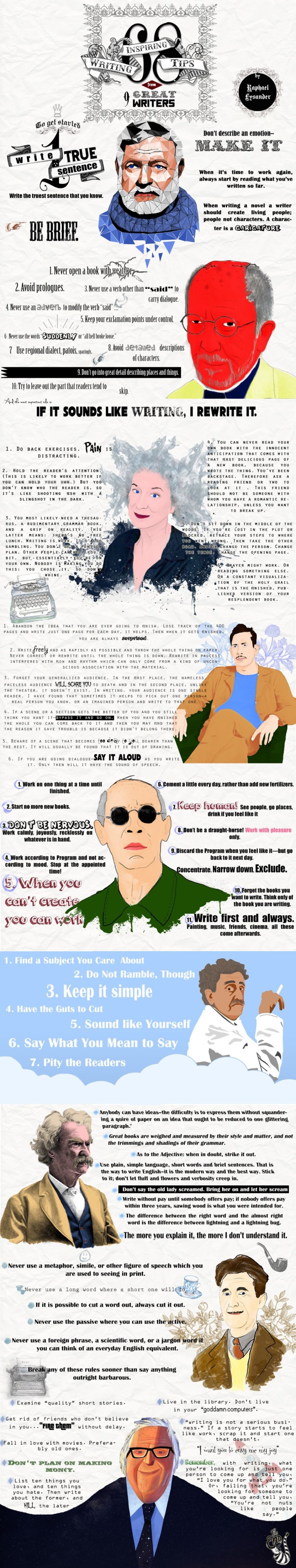 Infographic writing tips from famous writers