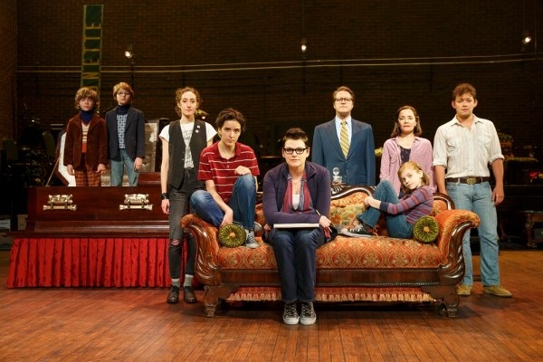 cast of Fun Home posing on stage