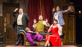 cast of The Play That Goes Wrong on stage