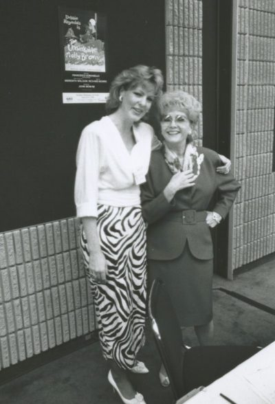 Kathleen OBrien (left) in 1990 with Debbie Reynolds who was appearing in The Unsinkable Molly Brown at TPAC