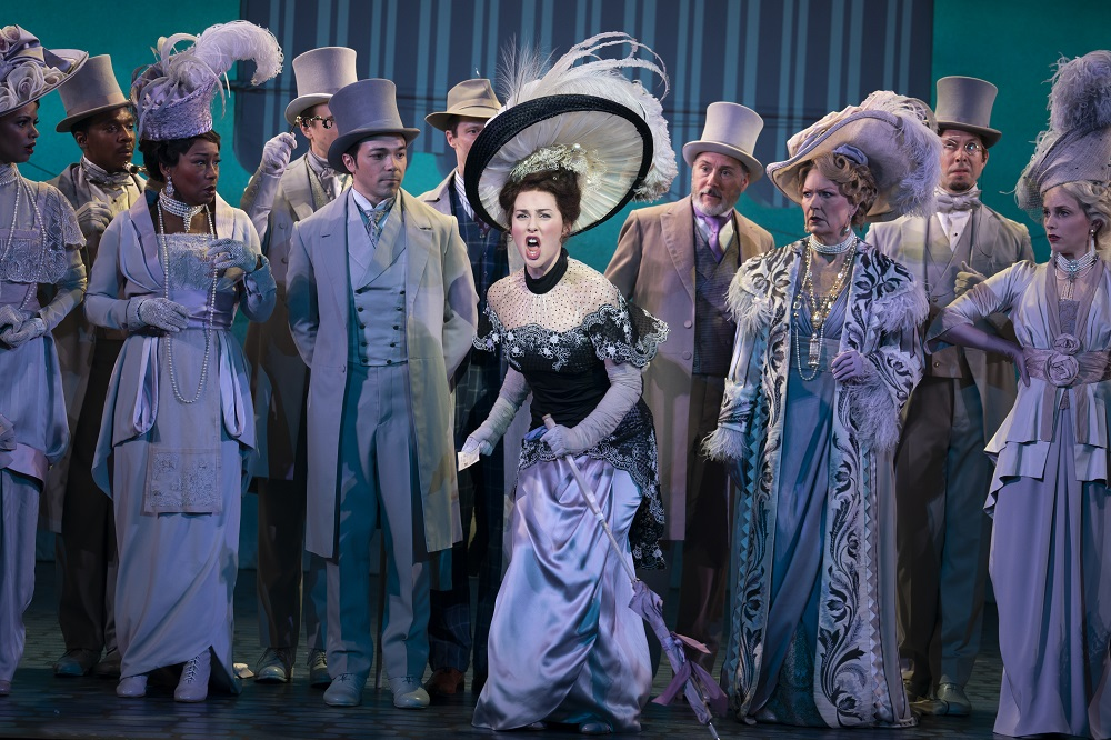 Sam Simahk as Freddy Eynsford-Hill, Shereen Ahmed as Eliza Doolittle, Kevin Pariseau as Colonel Pickering and Leslie Alexander as Mrs. Higgins in The Lincoln Center Theater Production of Lerner & Loewe's My Fair Lady. Photo by Joan Marcus.