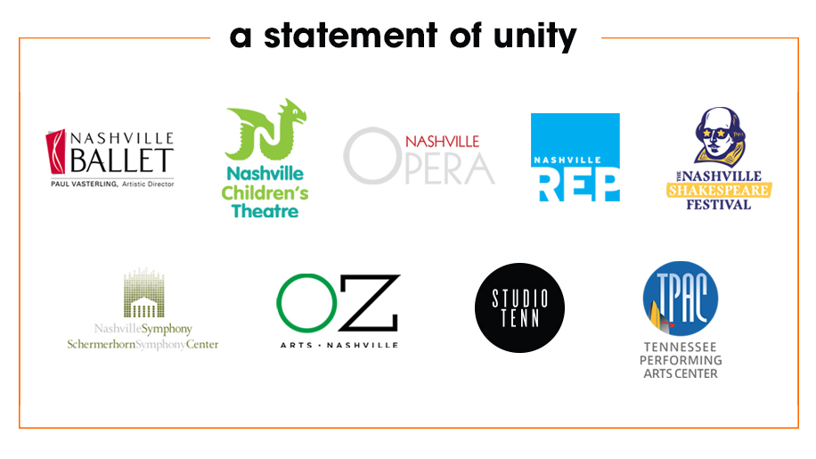 Nine Nashville arts organizations co-sign 'A Statement of Unity'.