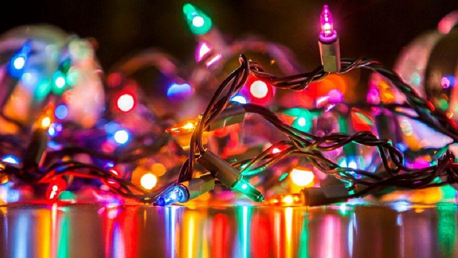 bundle of Christmas tree lights