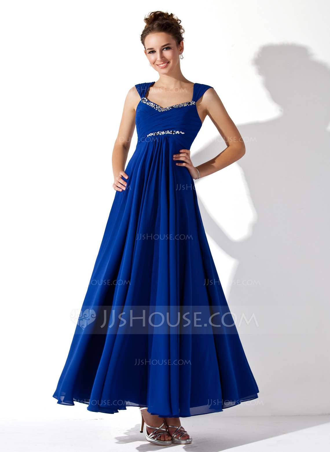 ALinePrincess Vneck AnkleLength Chiffon Prom Dress