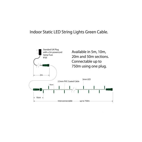 small resolution of  indoor led string lights static warm white on green cable warm white on green cable