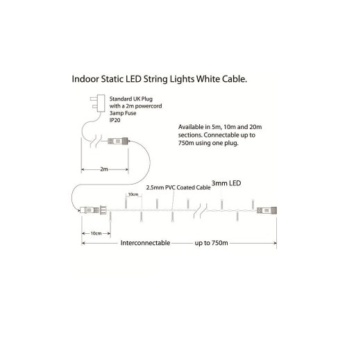 small resolution of  indoor led string lights static warm white on white cable warm white on white cable