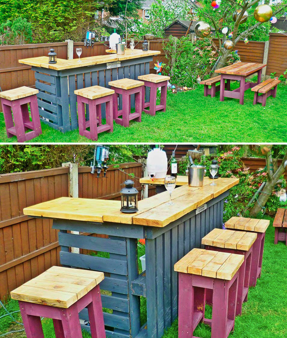 3 piece table and chair set cotton lounge covers is that a pallet swimming pool? 24 diy outdoor furniture creations big builds | home ...