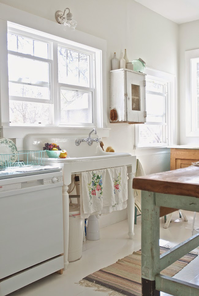 Before and After Shabby Chic to Modern Vintage Kitchen