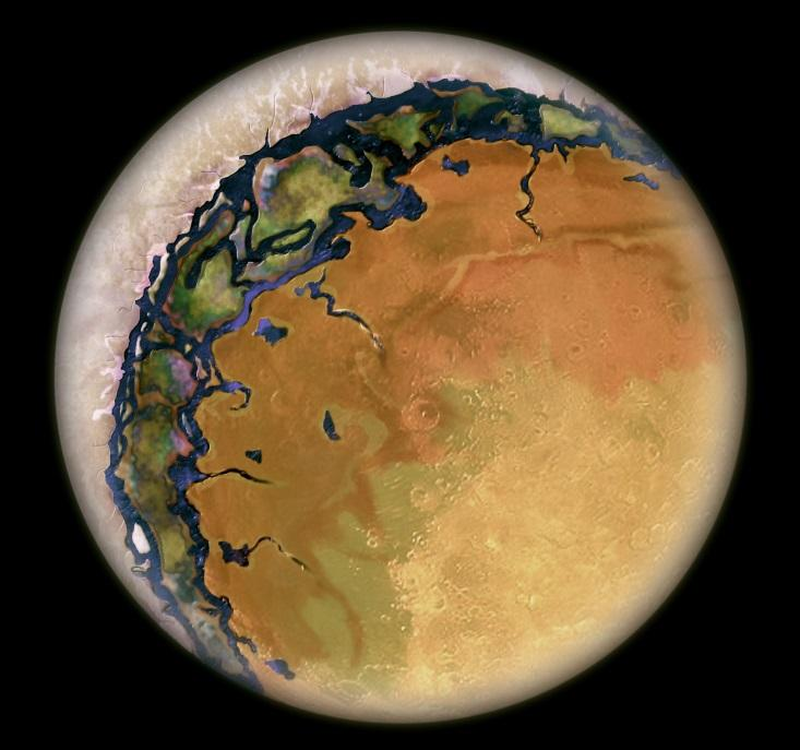 eyeball planets : Artist's conception of a hot Eyeball planet. The permanent day side is sun-baked and dry. The permanent night side is covered with ice. In between lies a thin habitat: the ring of life. Illustration by Beau. TheConsortium.