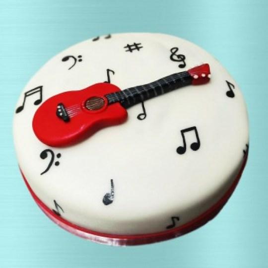 One Kg Guitar Theme Fondant Cake