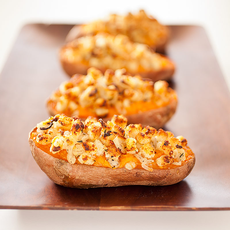 Twice Baked Sweet Potatoes With Shallot And Parmesan Topping Recipe Cooks Illustrated