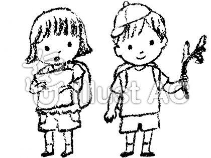 いわさきちひろ風、無料イラスト、男の子女の子、リュックサック