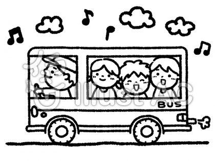 バス旅行、遠足、男の子、女の子、白黒、無料イラスト