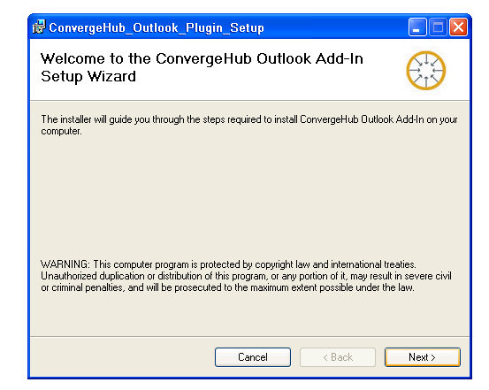 Outlook Add -in Setup Wizard