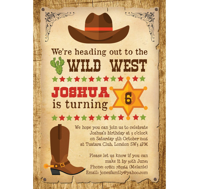 cowboy wild west birthday party invitation