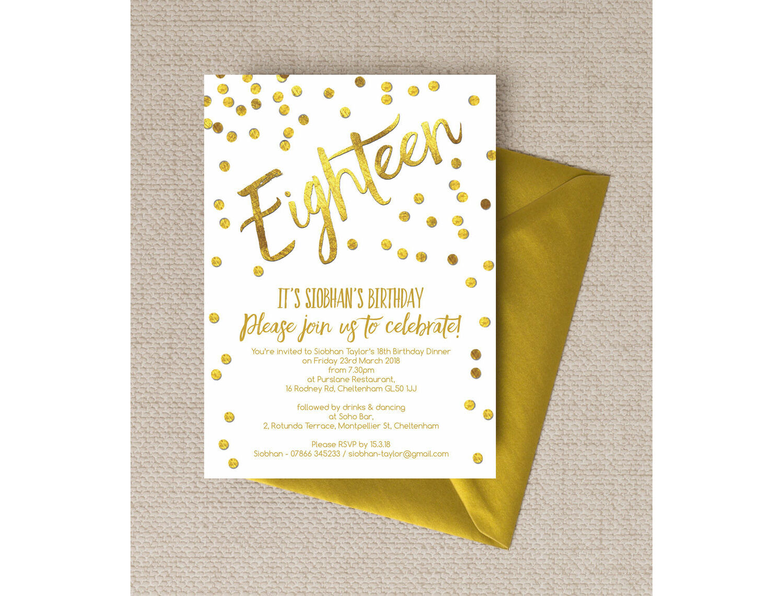 gold calligraphy confetti 18th birthday party invitation