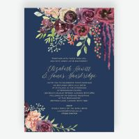 Navy & Burgundy Floral Wedding Invitation from 1.00 each