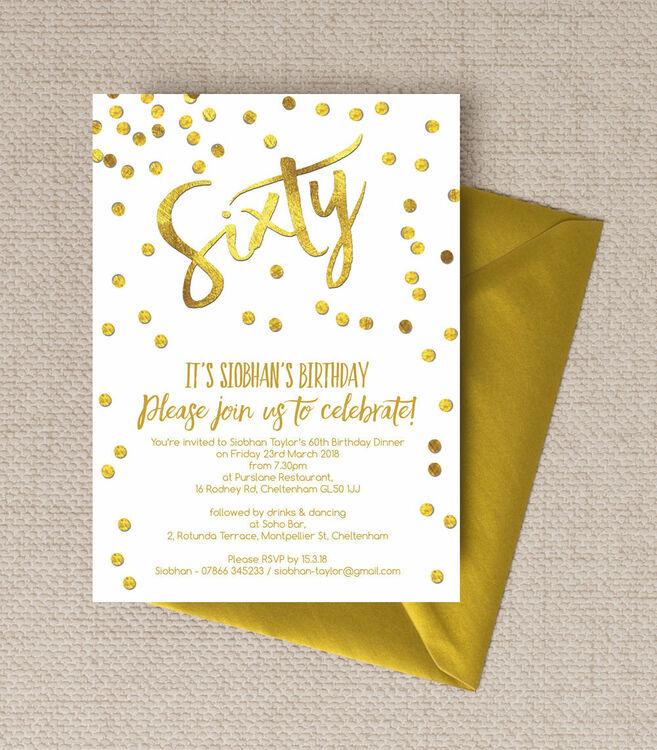 gold calligraphy confetti 60th