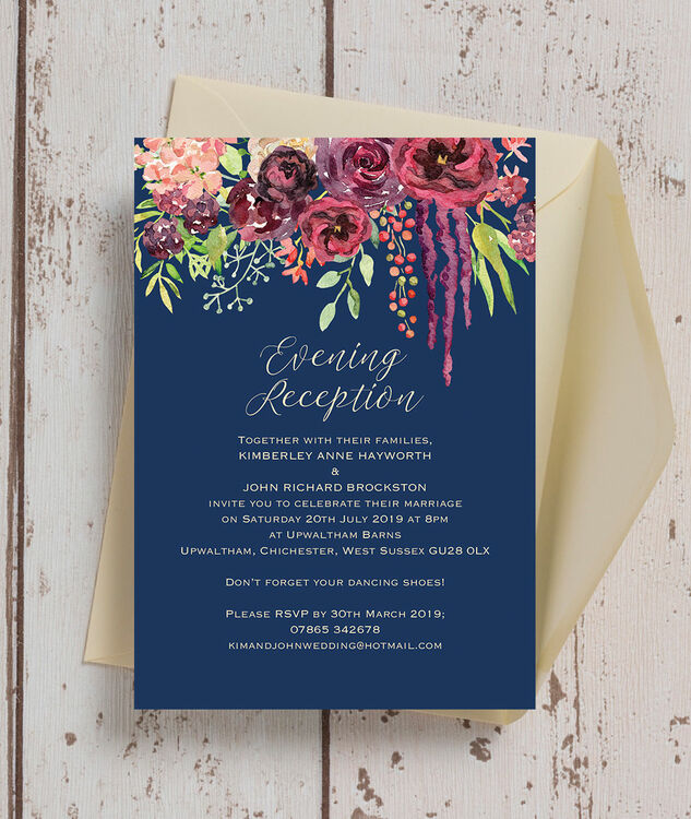 Navy Amp Burgundy Floral Evening Reception Invitation From