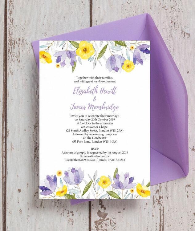 Lilac Amp Lemon Wedding Invitation From 100 Each