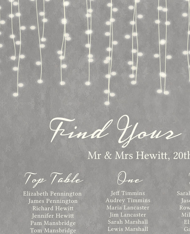 Dove Grey Fairy Lights Wedding Seating Plan from £40.00 each