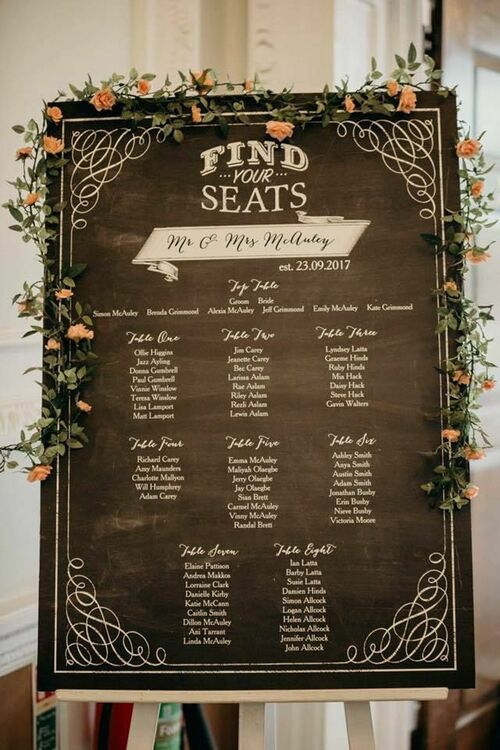 Chalkboard Wedding Seating Plan from 4000 each