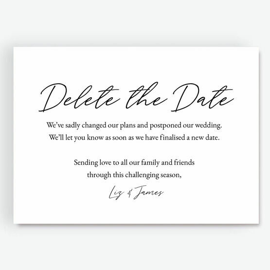 'Delete The Date' Wedding Postponement Card from £0.75 each
