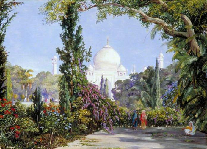 Painting of Taj Mahal surrounded by trees and flowers. By Marianne North. From the collection of  Royal Botanic Gardens, Kew. India paintings European Artists